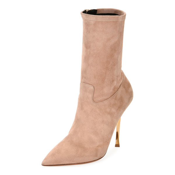 "VALENTINO Stretch-Suede Point-Toe Mid-Calf Boot - Valentino Garavani stretch-suede boot. 4.3"" metallic twist..."