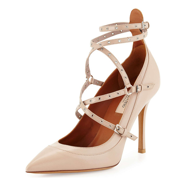 "VALENTINO Studded ankle-wrap pump - Valentino capretto (kidskin) leather pump. 4"" covered heel...."