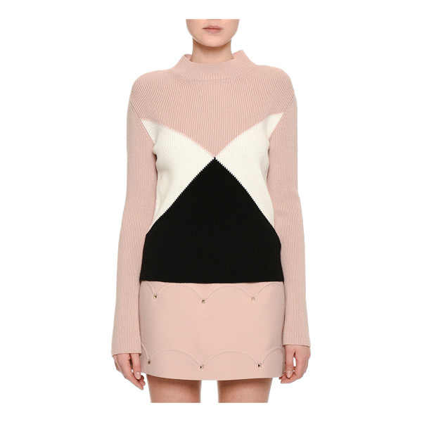 VALENTINO Tricolor Ribbed Virgin Wool Sweater - Valentino ribbed sweater featuring angular, bold, tricolor...