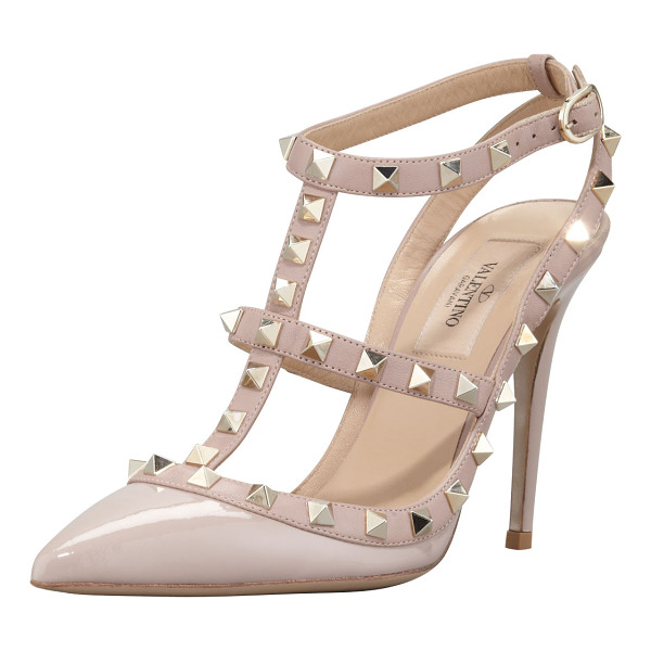 VALENTINO Rockstud Slingback 100mm Pump - Patent leather upper with tonal matte leather trim. Golden...