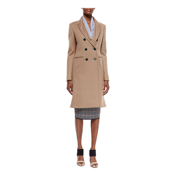 VICTORIA BECKHAM Double-breasted wool twill coat - Victoria Beckham wool twill coat. Stand collar; angled...