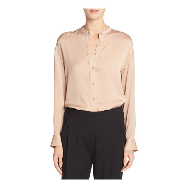 "VINCE Band-Collar Stretch-Silk Pintuck-Placket Blouse - Vince blouse in satin-finish stretch silk. Approx. 29""L..."