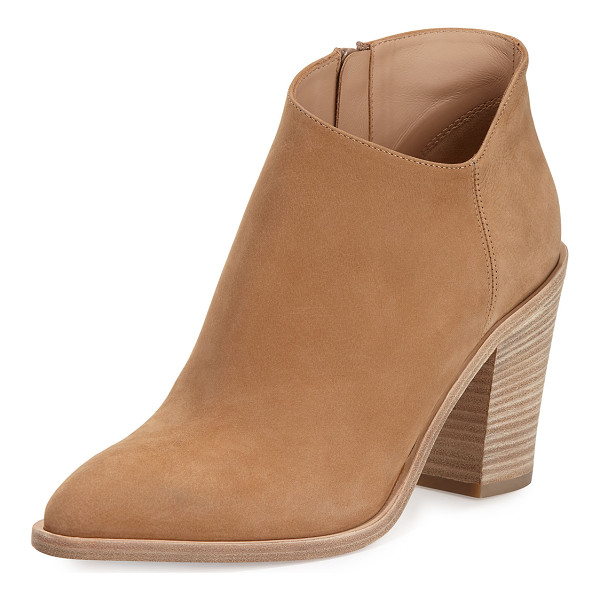 "VINCE Easton Asymmetric Nubuck 85mm Bootie - Vince nubuck leather bootie. 3.5"" stacked block heel; 5"""