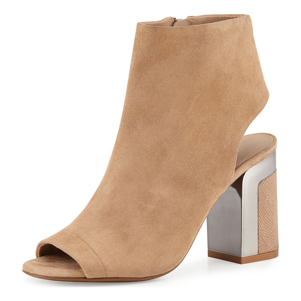 "VINCE Fenmore Peep-Toe Bootie - Vince suede bootie. 3.5"" snake-embossed leather heel with..."