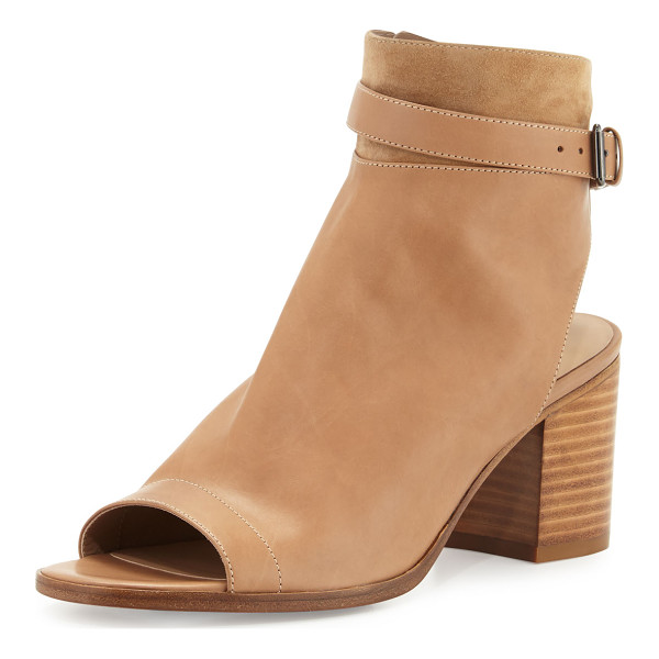 "VINCE Jane Leather Peep-Toe Bootie - Vince leather bootie with suede trim. 2.8"" stacked block..."