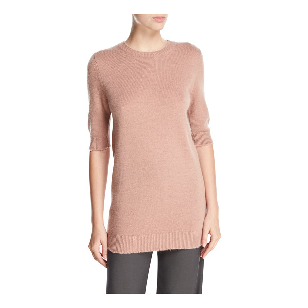 VINCE Long Cashmere Half-Sleeve Sweater - Vince sweater in soft knit with frayed-edge ribbed cuffs...