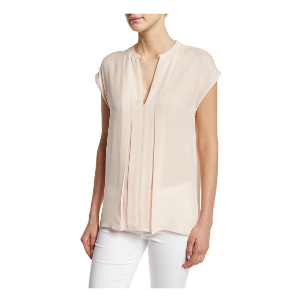 VINCE Pintuck Popover Silk Top - Vince top with pintuck, pleated front. Split V neckline....