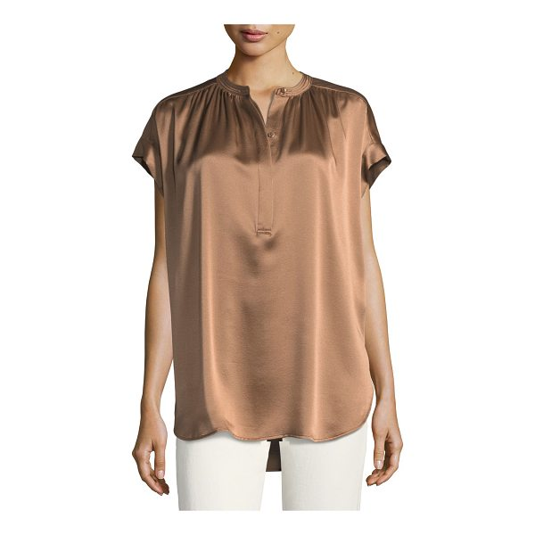 VINCE Short-Sleeve Shirred Satin Blouse - Vince silk satin blouse with shirred details. Band collar;...