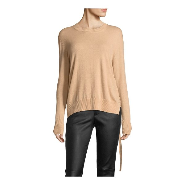 VINCE Side-Tie Crewneck Cashmere Sweater - Vince cashmere sweater. Ribbed neck, hem, & cuffs. Crew...