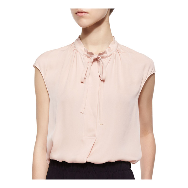 VINCE Silk cap-sleeve tie-neck blouse -  Vince blouse in georgette. Mock collar with ties; placket...