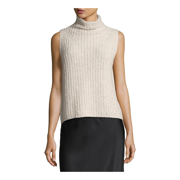 VINCE Sleeveless Turtleneck Pullover Sweater - Vince cashmere-knit sweater with directional ribbing....