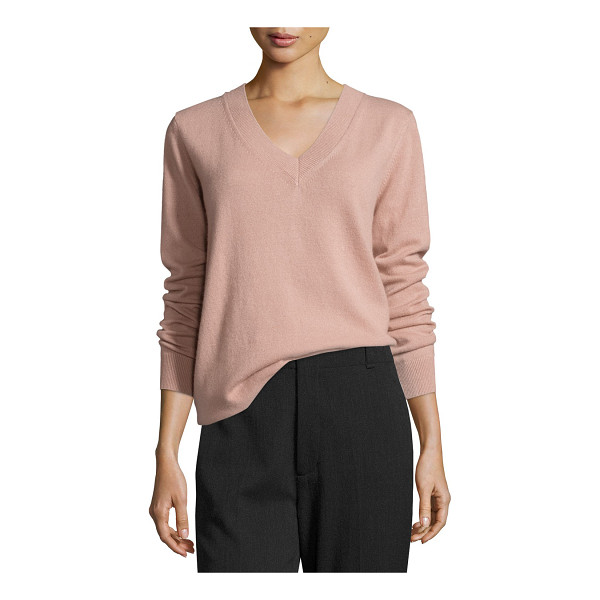"VINCE Vee Lightweight Cashmere Sweater - Vince ""Vee"" sweater with ribbed neckline, cuffs, and hem. V..."