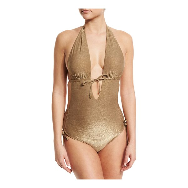 "VITAMIN A Brena Metallic Plunge-Neck One-Piece Swimsuit - Vitamin A ""Brena"" one-piece swimsuit in solid metallic..."