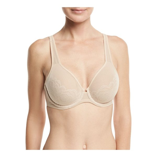 "WACOAL Stark Beauty Underwire Full-Cup Bra - Wacoal ""Stark Beauty"" sheer mesh bra with floral lace..."