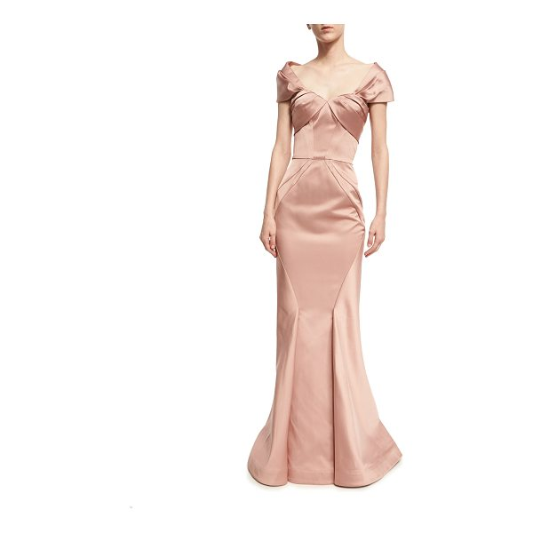 ZAC POSEN Off-the-Shoulder Sweetheart Mermaid Gown - Zac Posen gown in lustrous satin. Off-the-shoulder...
