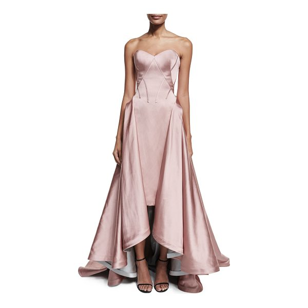 ZAC POSEN Strapless Pleated High-Low Gown - Zac Posen seamed double-faced duchess gown. Strapless,...