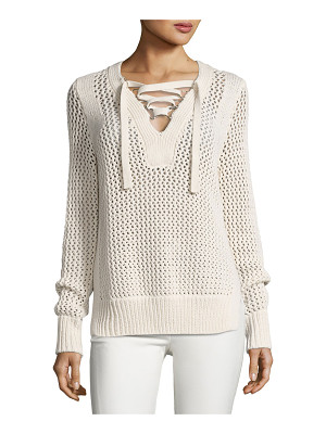 10 Crosby Derek Lam Crochet Lace-Up Pullover Sweater
