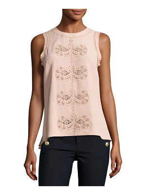 10 Crosby Derek Lam Sleeveless Floral Paisley Crepe de Chine Top