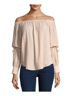 AG Adriano Goldschmied Tallulah Off-the-Shoulder Drawstring-Sleeve Linen-Blend Top