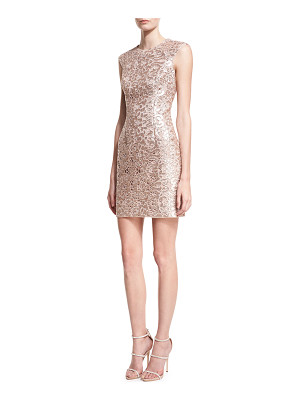 AIDAN BY AIDAN MATTOX Sleeveless Jewel-Neck Lace Cocktail Dress