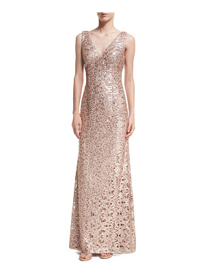 AIDAN BY AIDAN MATTOX Sleeveless V-Neck Sequin Lace Gown