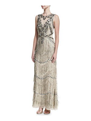 Aidan Mattox Beaded Deep-Neck Fringed Sleeveless Evening Gown