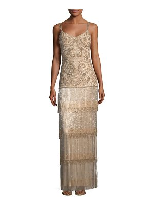 Aidan Mattox Beaded Fringe Column Tiered Long Evening Gown