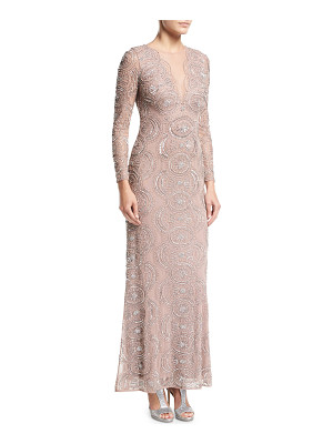 AIDAN MATTOX Beaded Illusion-Neck Long-Sleeve Cutout-Back Evening Gown