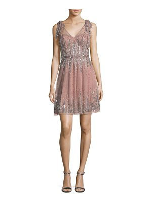 AIDAN MATTOX Embellished A-Line Mini Dress