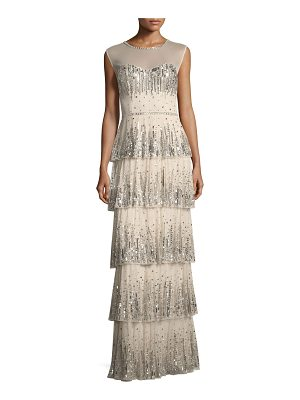 AIDAN MATTOX Embellished Five-Tier Long Evening Gown