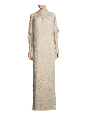 AIDAN MATTOX Long-Sleeve Embellished-Scroll Caftan
