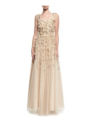 AIDAN MATTOX Rosette Beaded Evening Gown