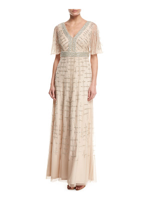 Aidan Mattox Short-Sleeve V-Neck Beaded Chiffon Gown