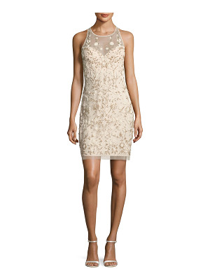 Aidan Mattox Sleeveless Beaded Floral Sheath Dress