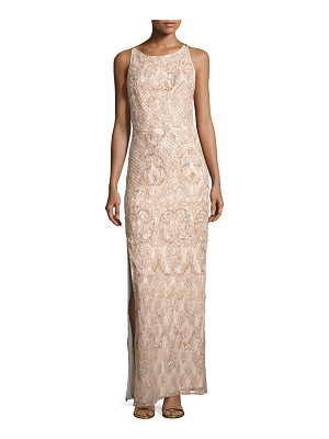 Aidan Mattox Sleeveless Beaded Lace Column Gown