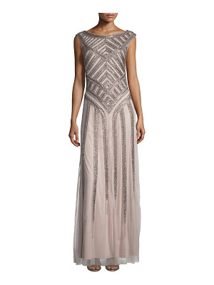 Aidan Mattox Sleeveless Beaded Tulle Column Gown