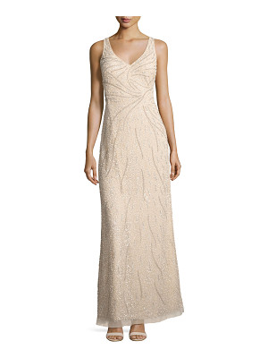AIDAN MATTOX Sleeveless Beaded Tulle Gown