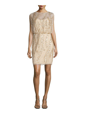 Aidan Mattox Sleeveless Embellished Tulle Cocktail Dress