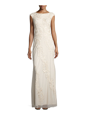 AIDAN MATTOX Sleeveless Embroidered Mesh Column Gown