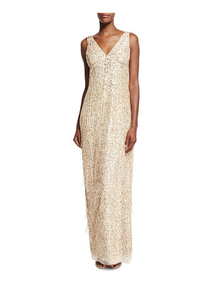 Aidan Mattox Sleeveless Sequin & Fringe Column Gown