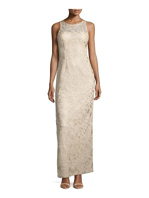 AIDAN MATTOX Strappy Soutache Column Gown