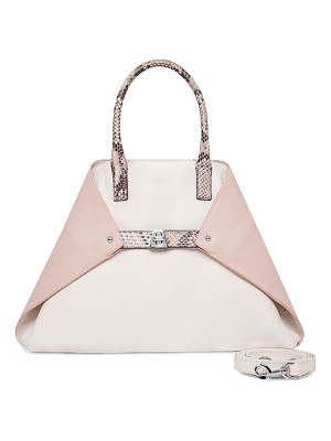 AKRIS Ai Small Top-Handle Python & Leather Shoulder Bag