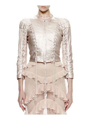 Alexander McQueen 3/4-Sleeve Metallic-Leather Jacket