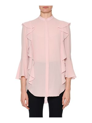 ALEXANDER MCQUEEN Button-Front Long-Sleeve Silk Georgette Blouse With Ruffle Detail