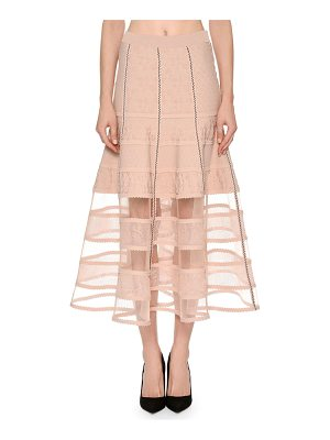ALEXANDER MCQUEEN Patchwork Jacquard Lace Skirt With Crinoline Hem