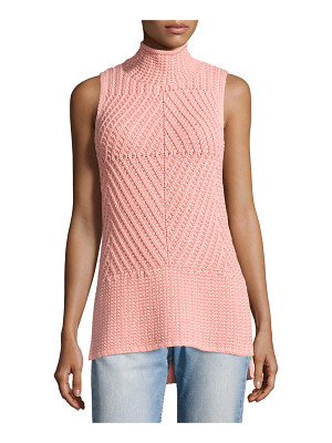 Alice + Olivia Abbot Sleeveless High-Low Mock-Neck Sweater