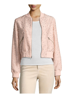 Alice + Olivia Demia Embellished Silk Cropped Bomber Jacket