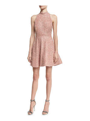 Alice + Olivia Hollie Sequined Fit-and-Flare Racerback Dress