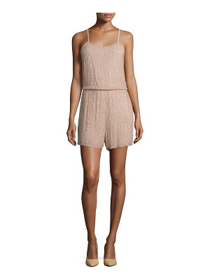 Alice + Olivia Mika Sleeveless Beaded Silk Romper