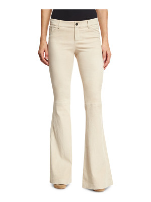 Alice + Olivia Suede Bell-Bottom Five-Pocket Pants